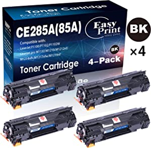 (4-Pack Set, Black) Compatible CE285A Toner Cartridge 85A Used for HP P1100 P1102W Pro M1132 M1210 M1212nf M1214nfh M1217nfw M1219nf Printer, Sold by EasyPrint
