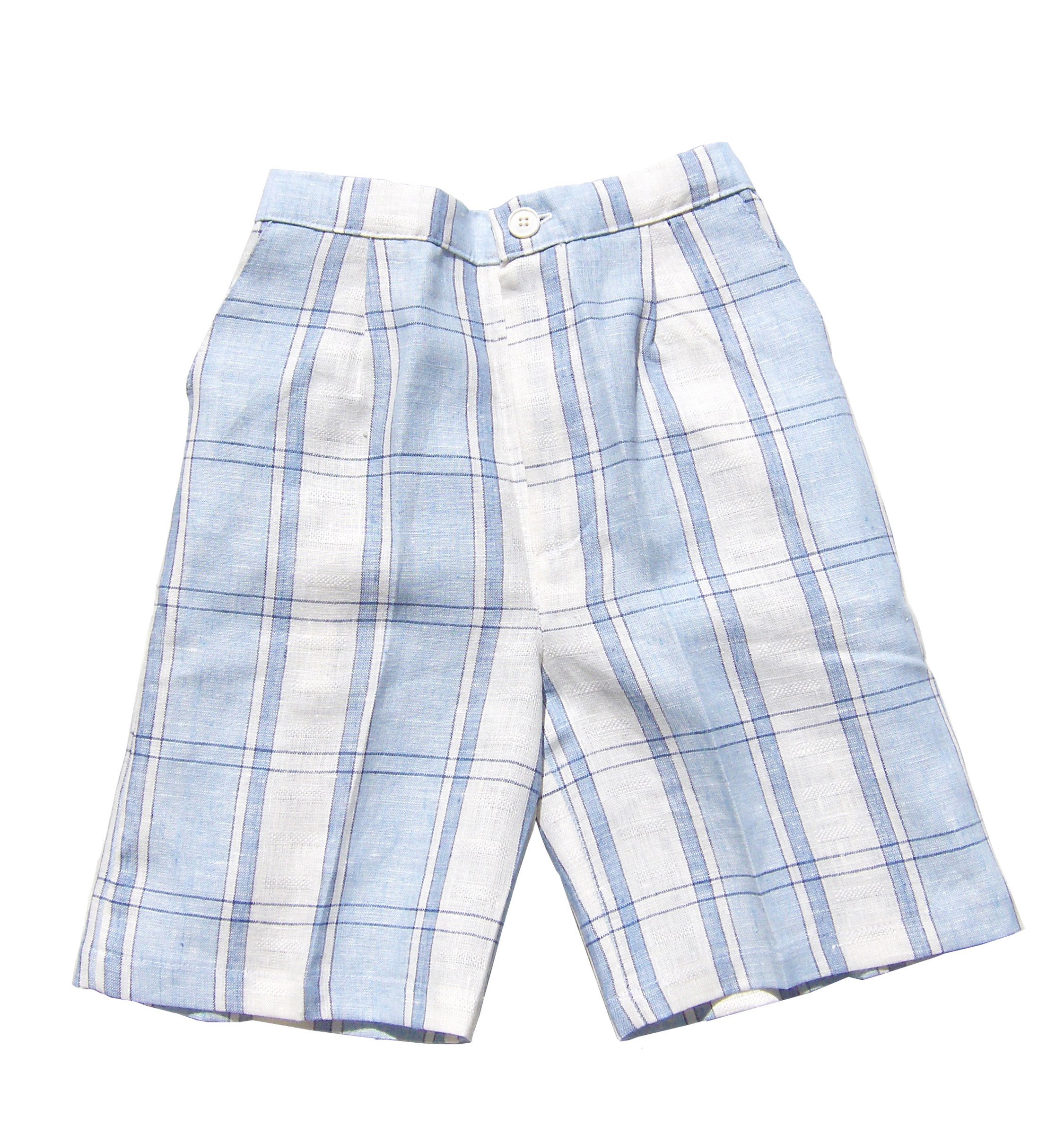 Aby's Kids Boys Linen Shorts Plaid 12