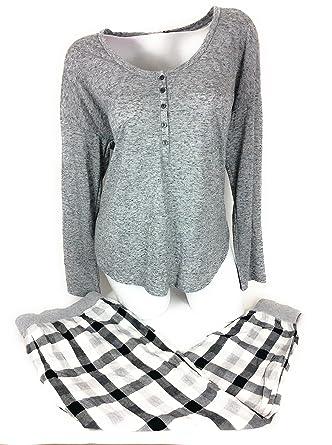 5838258b1a0fa Victoria's.. Secret Pajama Set Henley Top Flannel Jogger Pant Medium ...