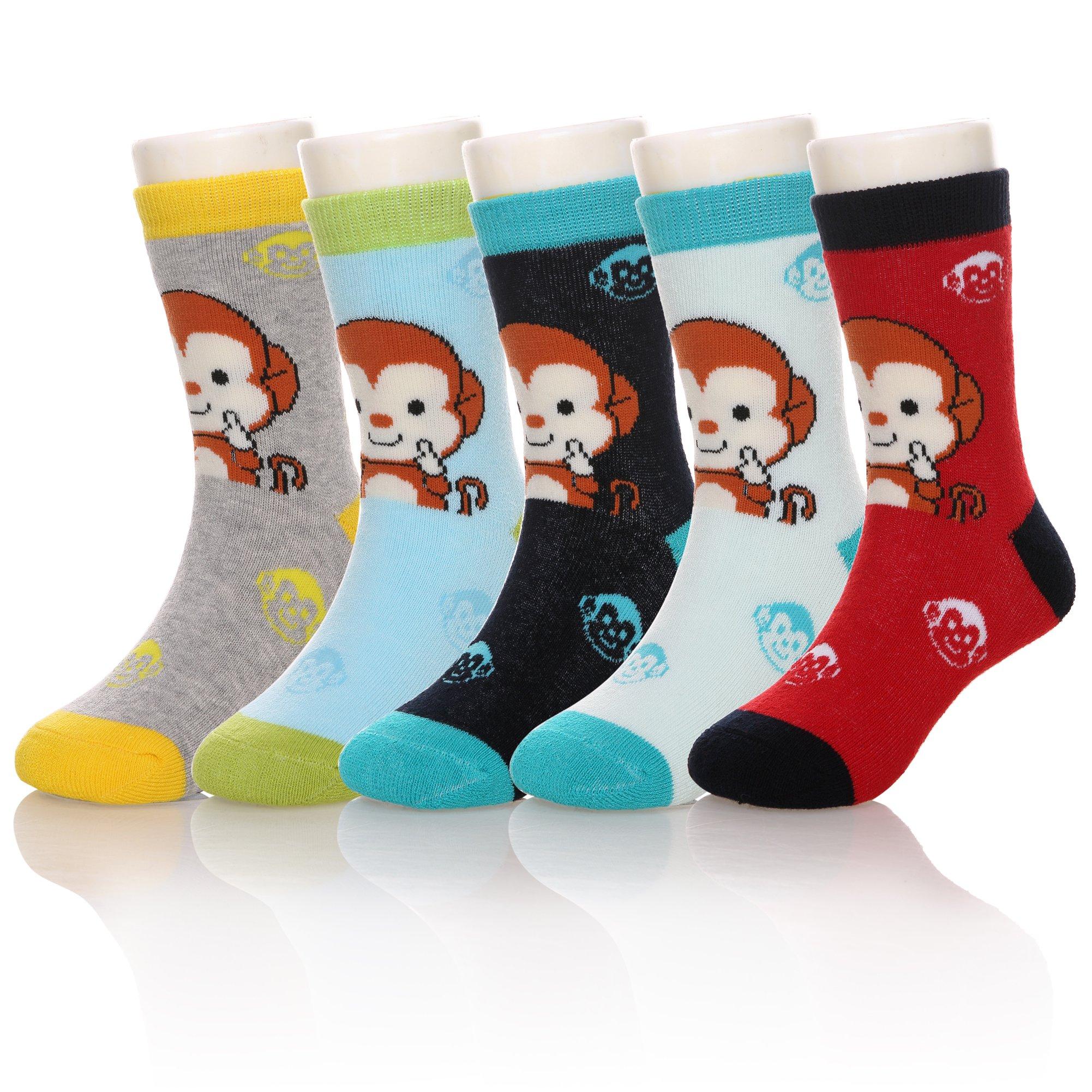 Eocom 5 Pairs Children's Winter Warm Cotton Socks Novelty Kids Boys Girls Socks (6-8 Years, Monkey)