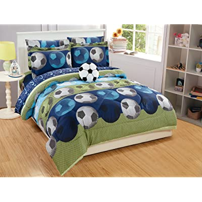 Mk Collection 8pc Full Comforter Set with Furry Soccer Pillow Soccer Light Blue Green Navy Blue White Black New: Home & Kitchen