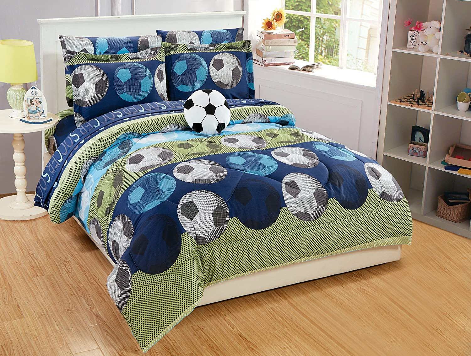 Twin Size 6pc Comforter Set for Boys/Teens Soccer Green Blue Black White New
