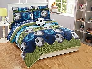 Queen Size 8pc Comforter Set for Boys/Teens Soccer Green Blue Black White New