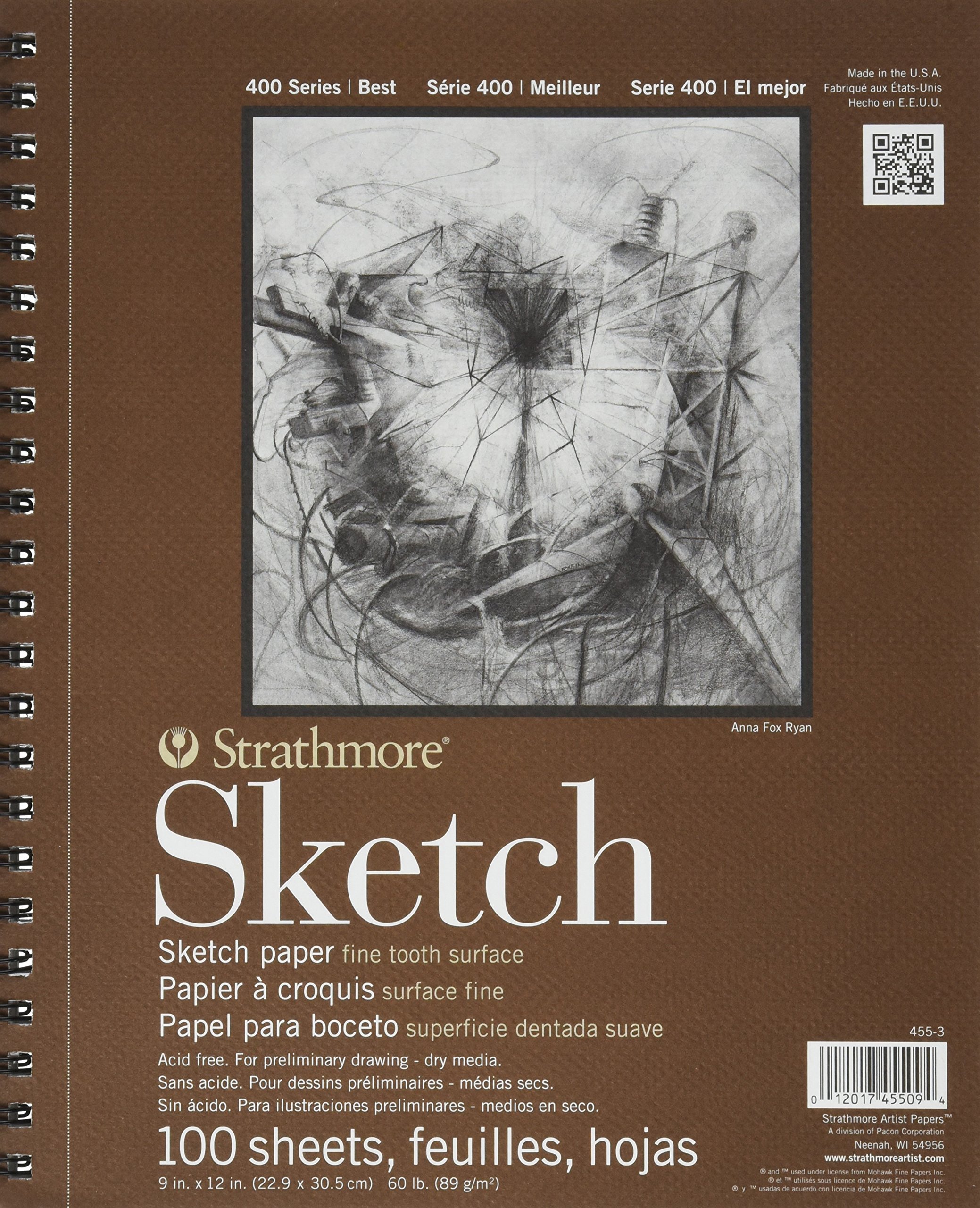 Strathmore SM455-3 455-3 Drawing & Sketch Paper 6 Pack White