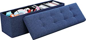 "Ornavo Home Foldable Tufted Linen Large Storage Ottoman Bench Foot Rest Stool/Seat - 15"" x 45"" x 15"" (Navy)"