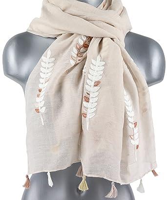 Écharpe brodée de feuille pour les femmes dames élégantes feuilles foulards  de broderie 186 x 70 cm  Amazon.fr  Vêtements et accessoires 6d0985879c4