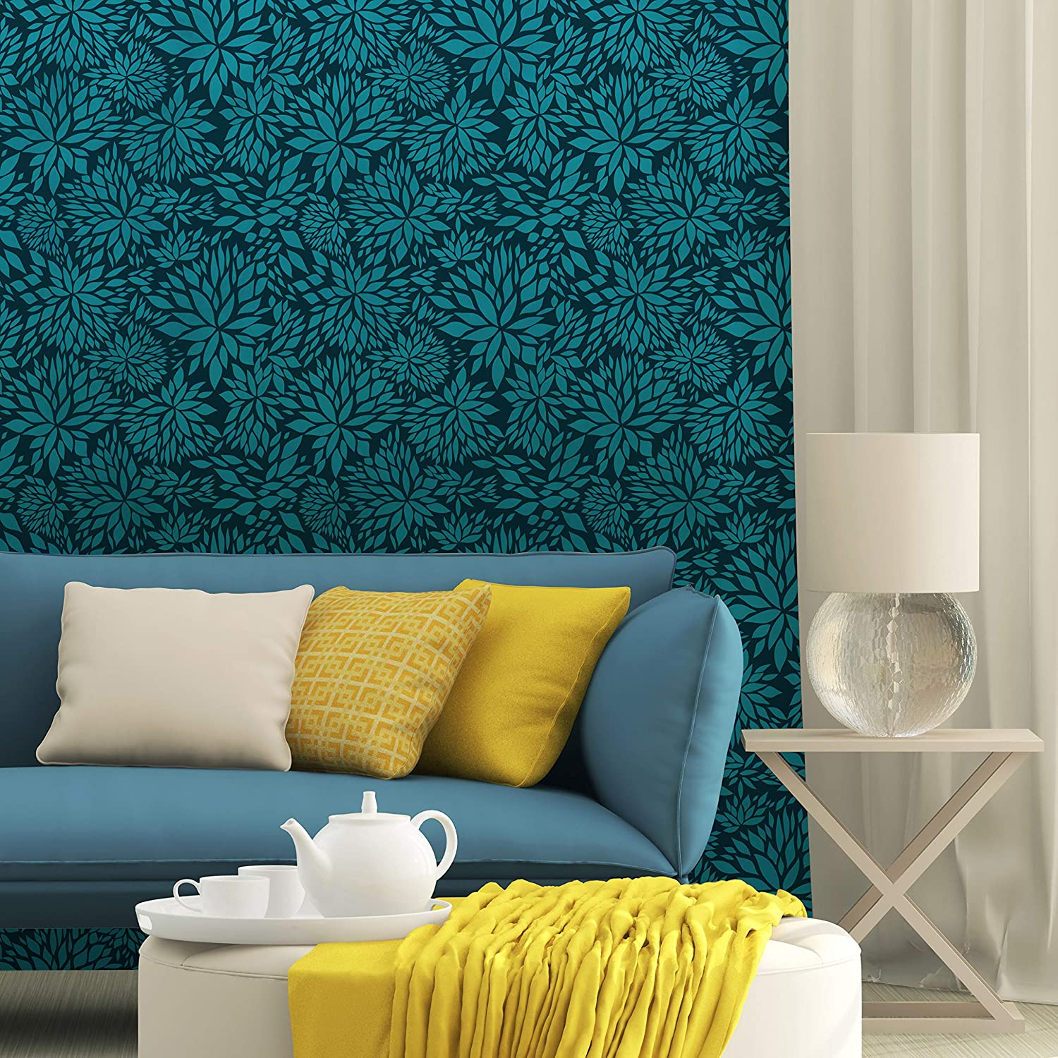 Amazon Com Petal Play Floral Wall Stencil For Painting A Modern