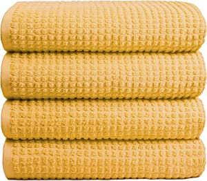 GLAMBURG 100% OEKOTEX Organic Cotton 4 Pack Bath Towel Set, GOTS Certified, Contains 4 Oversized Bath Towels 30x54, Hotel & Spa Quality, Absorbent & Eco-Friendly - Yellow