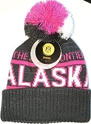 Robin Ruth Alaska Beanie Hat Heavy Quality Hot Pink Grey Metallic  Sparkle White Pom Pom 1fa6f4dfba54