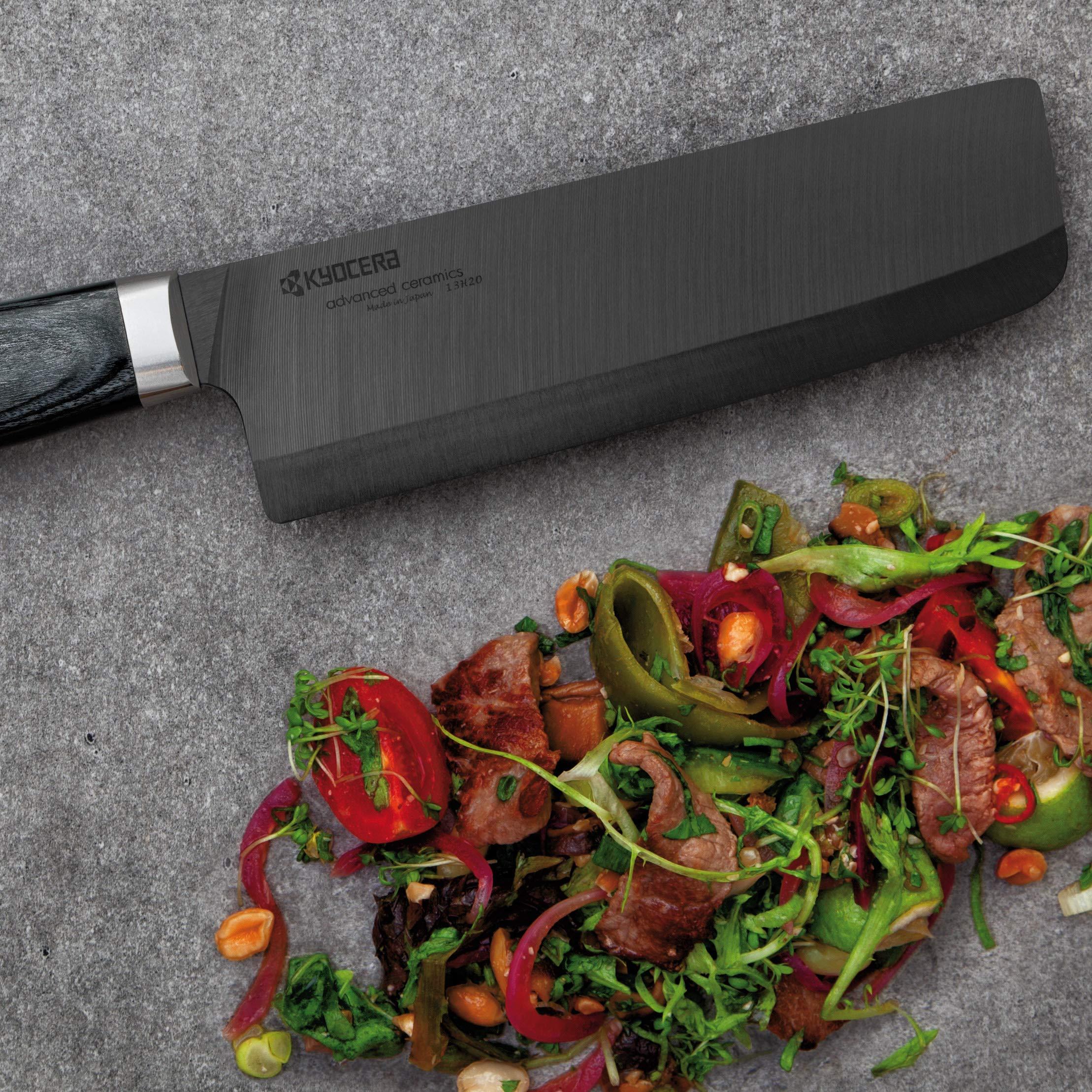 Kyocera Advanced Ceramic LTD Series Nakiri Knife with Handcrafted Pakka Wood Handle, 6-Inch, Black Blade by Kyocera (Image #4)