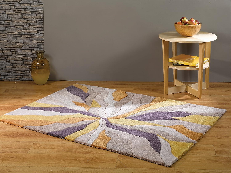 Lord Of Rugs Quality Modern Heavyweight Modern Art Design Yellow Purple Area Rug In 80 X 150 Cm 2 6 X 5 Carpet Amazon Co Uk Kitchen Home