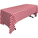 LA Linen Checkered Tablecloth, 60 by 120-Inch, Red
