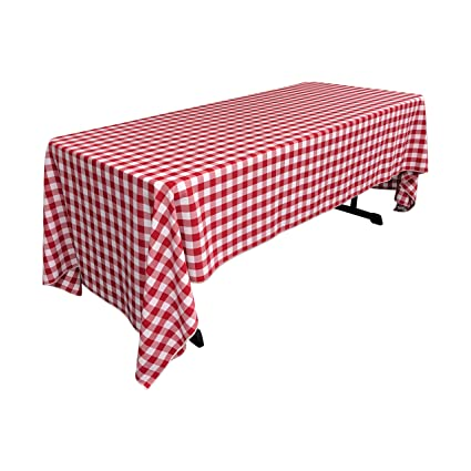 Genial LA Linen Checkered Tablecloth, 60 By 120 Inch, Red
