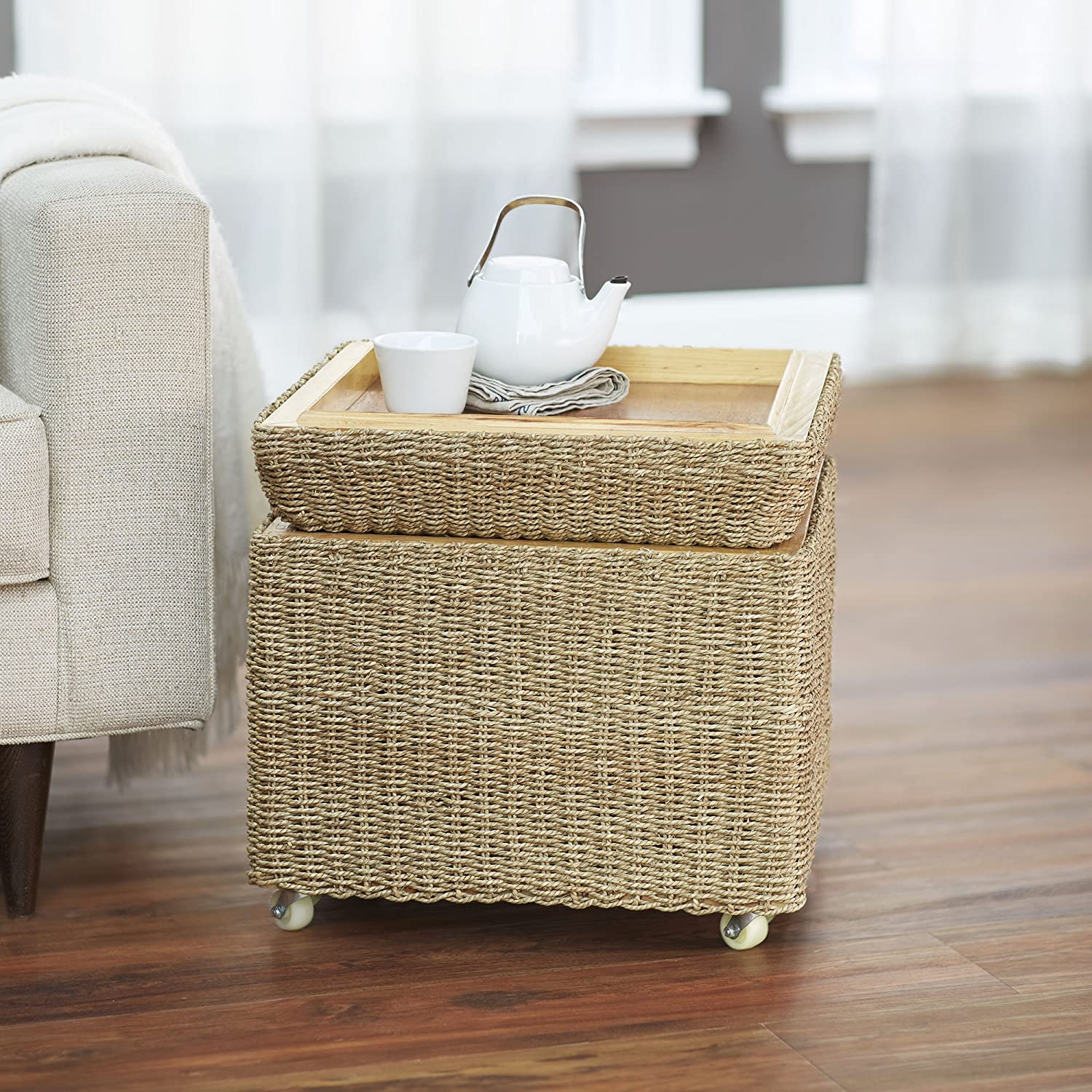Amazon.com: Household Essentials Rolling Seagrass Wicker Storage Seat:  Kitchen U0026 Dining