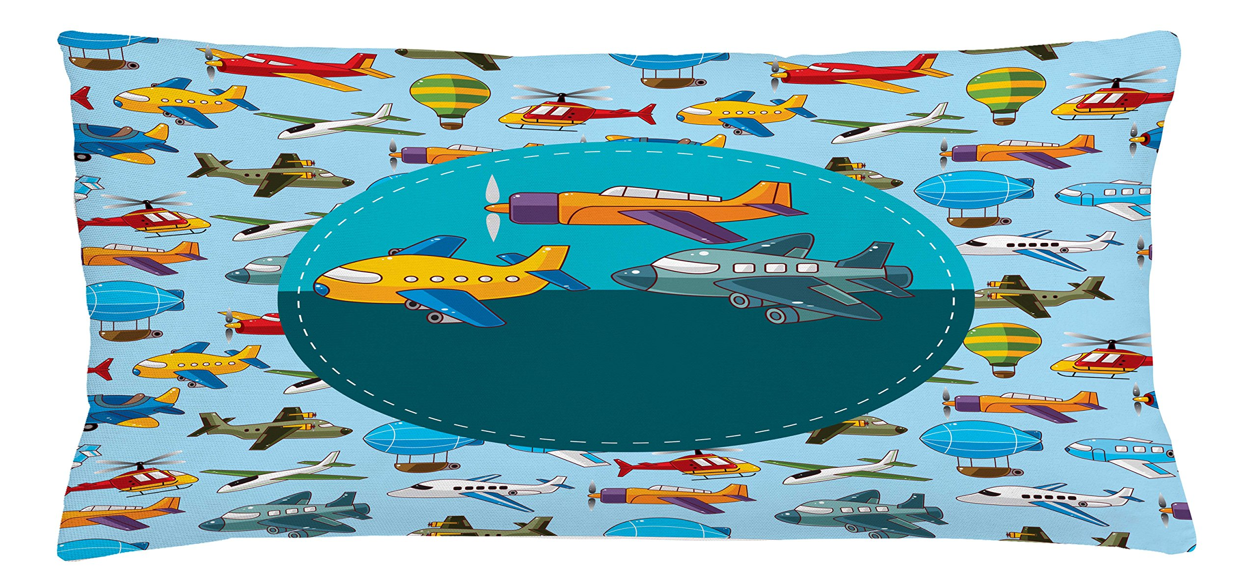 Ambesonne Kids Party Throw Pillow Cushion Cover, Colorful Retro Style Various Cartoon Airplanes Air Balloons Zeppelins Boys Kids, Decorative Square Accent Pillow Case, 36 X 16 inches, Multicolor