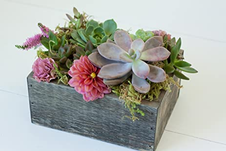 8quot Rectangular Rustic Wood Planter Box With Plastic Liner For Wedding Centerpiece Decor