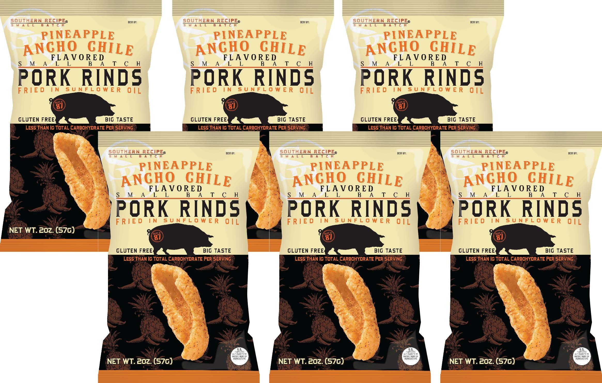 Southern Recipe Small Batch Classic Pork Rinds, Pineapple and Chile Ancho, 2 Ounce Bag (Pack of 6) by Southern Recipe (Image #3)