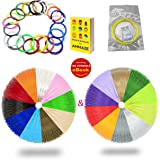AMMAZE 3D PEN FILAMENT REFILLS 1.75mm ABS 361 Linear Feet 140 STENCILS 22 Colors 3D Printing Plastic (4 FLUORESCENT & 2 GLOW IN THE DARK) Individually Vacuum-Sealed For Doodle Arts & Crafts Making