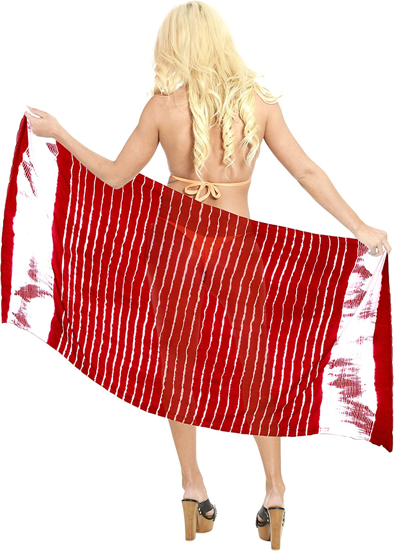 LA LEELA Traje de ba/ño Traje de Pareo de ba/ño Hawaiano Sarong Regalos aut/éntico Lazo de la Playa del Traje de ba/ño de Tinte Blood Rojo Encubrimiento