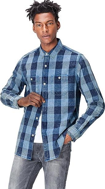 Marca Amazon - find.. Camisa de Cuadros de Manga Larga para Hombre