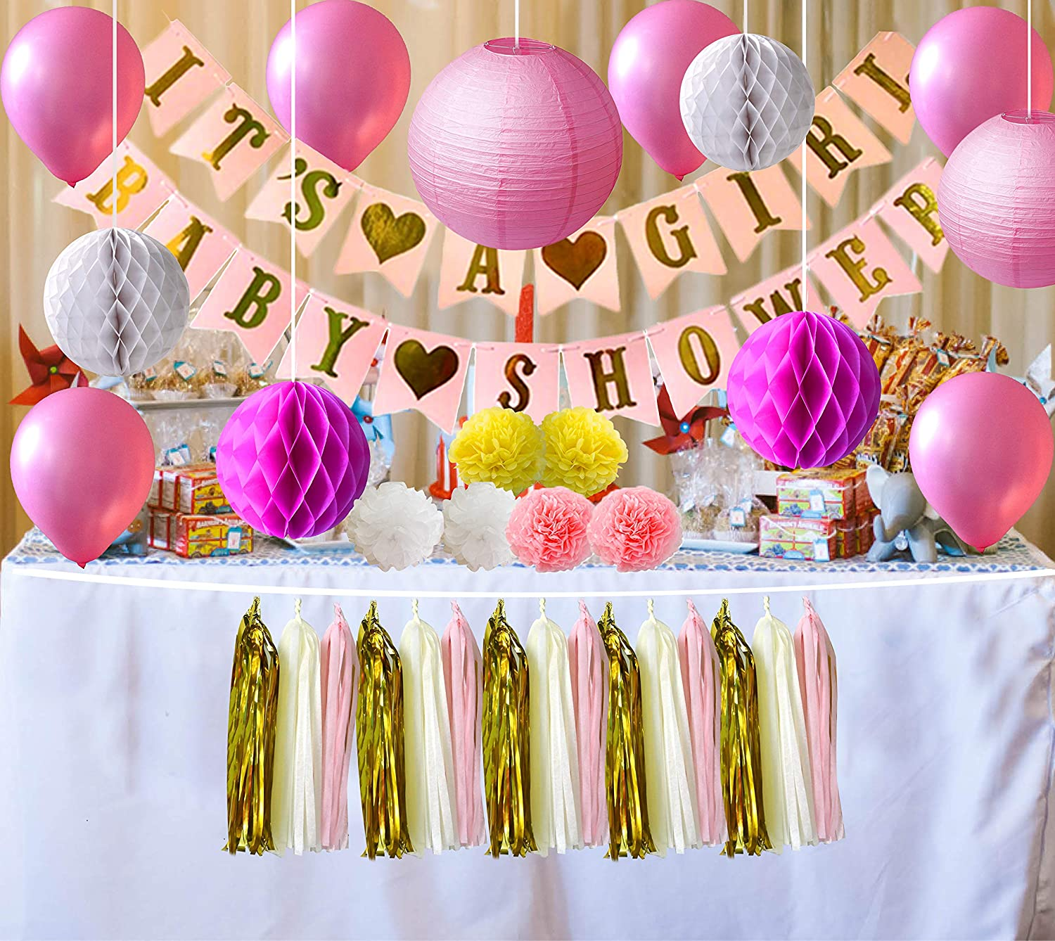 ATSON Baby Shower Decorations for Girl 41pc It s A Girl Baby Shower Banner Tassels Pompom Flowers Balloons Paper Lanterns Honeycomb Balls Pink,White,Yellow Easy Assemble