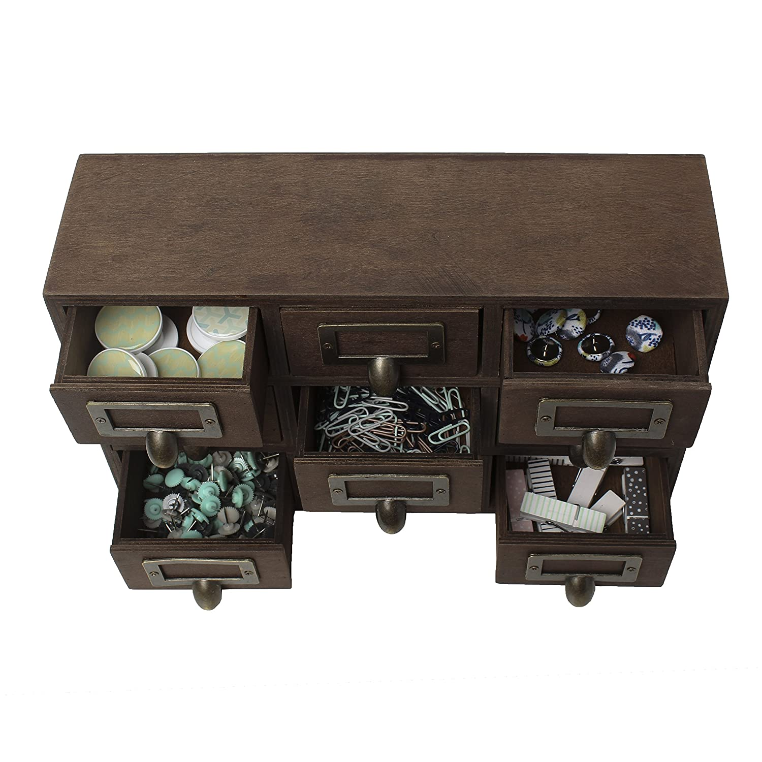 Marvelous Amazon.com: Kate And Laurel Desktop Solid Wood Apothecary Drawer Set,  Includes 9 Drawers With Metal Label Holders, Rustic Brown Finish: Home U0026  Kitchen