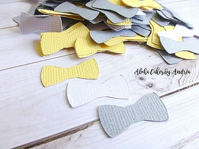 Amazon.com: 1 inch Yellow, Gray and White Bow Tie Confetti, Baby ...