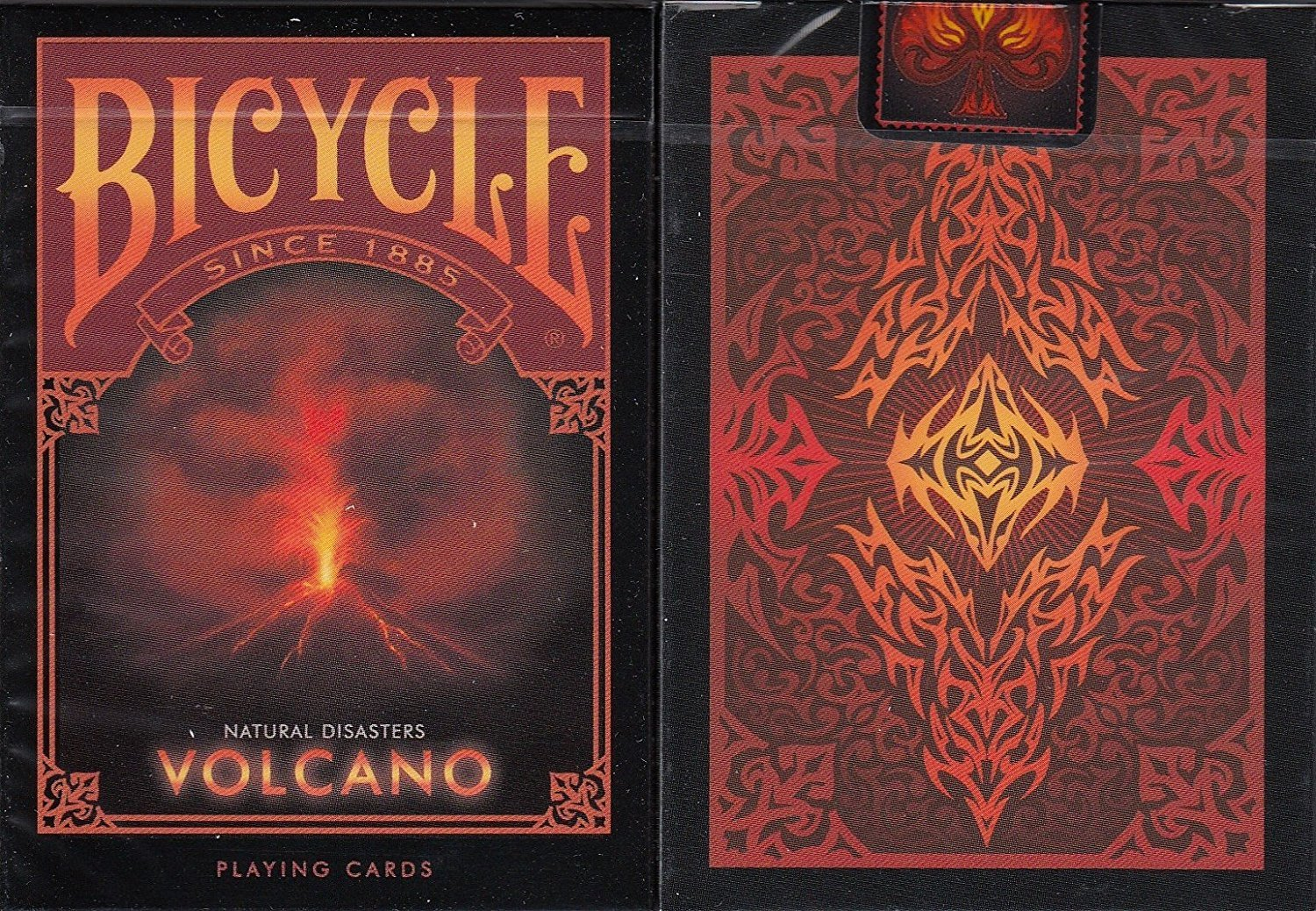 BICYCLE NATURAL DISASTERS PLAYING CARDS BY COLLECTABLE PLAYING CARDS, 4 DECK SET ''EARTHQUAKE, TORNADO, WILDFIRE & VOLCANO''