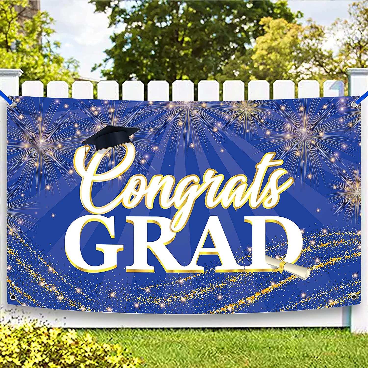 XtraLarge Congrats Grad Banner 2021 - 72x44 Inch | Graduation Banner 2021 Blue and White | Blue and Gold Graduation Decorations 2021 | Congratulations Banner Graduation Decor for Class of 2021 Party