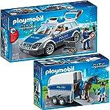 PLAYMOBIL® City Action Set en 2 parties 6873 6875 Voiture de Police + Police à Cheval