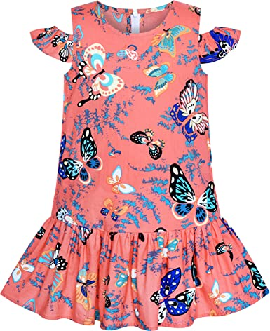 Sunny Fashion Vestido para niña Hombro frío Rosa Volante Fruncido Algodón Casual Sol 4-8 años: Amazon.es: Ropa y accesorios