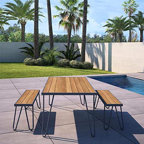 Novogratz 88192CNOE Poolside Paulette Outdoor Table and Bench Set, Charcoal Gray