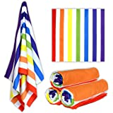 Microfibre Beach Towel Rainbow Extra Large (200cm x 90cm) XL Oversize Family Size Quick Dry Super Absorbent Lightweight Thin Compact Travel Sand-Free Suede Blanket Swim Sports Fitness Gym Camping