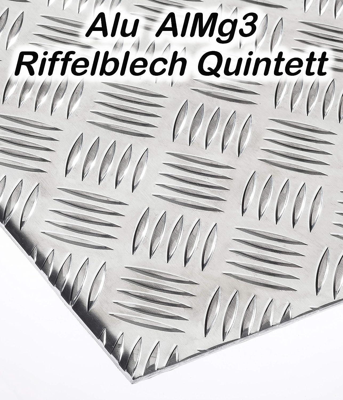 Alu Riffelblech 2,5//4,0 mm Quintett Warzenblech Tränenblech Blech nach Maß