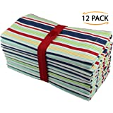 Cotton Craft - 12 Pack Pure Cotton Multi Stripe Dinner Napkins - 12 Pack - 100% Cotton - Tailored with Mitered corners - Oversized 20x20