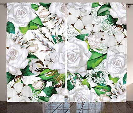 Amazon.com: Ambesonne Roses Decorations Collection, Watercolor Artsy ...