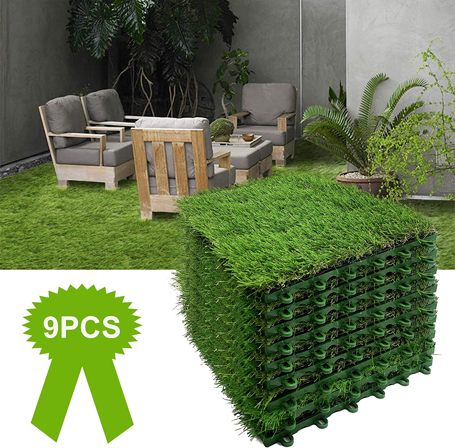 1FT X 1FT 9PCS Synthetic Artificial Grass Mat Realistic Grass Turf Indoor Outdoor Carpet Green Tile Lawn Rug for Patio Pet Square Grass with Drain Holes for Garden Home Decoration