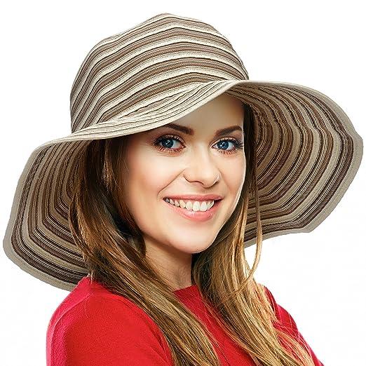 Women Summer Hat Packable Striped Floppy Wide Brim Beach Sun Protection  Gardening Travel Hats Beige f3d2b2de162a