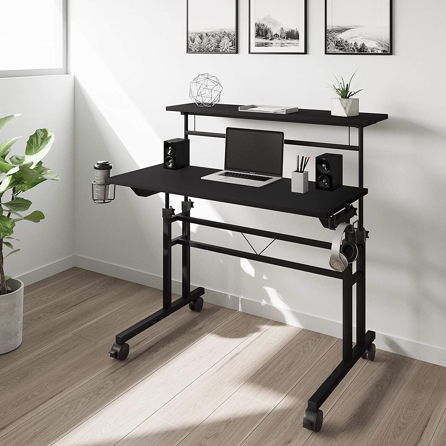 Techni Mobili Rolling Writing Height Adjustable Desktop and Moveable Shelf, Black Desk