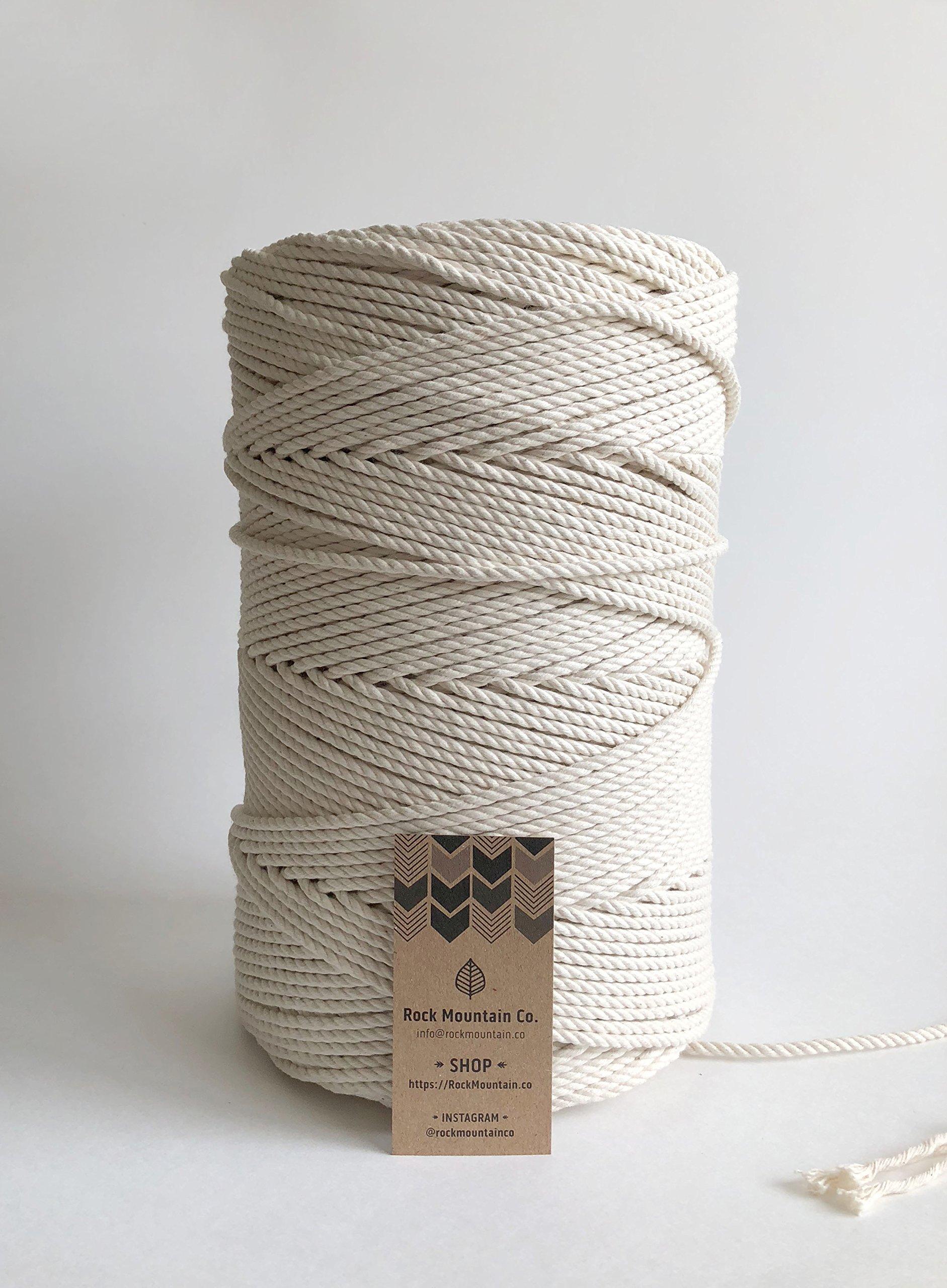 4mm Cotton Macrame Rope/1/8 Bulk Decorative Cord/3 ply 3 Strand/1200' Large Spool