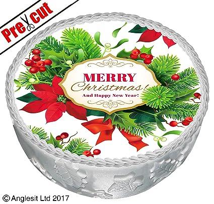Postres Para Una Feliz Navidad.Pre Cut Feliz Navidad Y Feliz Ano Nuevo C Ix Para Tarta 7