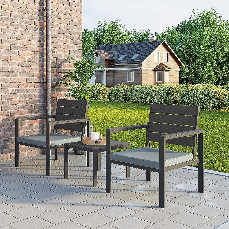 SONGMICS Set di 3 Mobili da Giardino Salotto da Giardino con 2 Sedie 1 Tavolino 2 Cuscini Sfoderabili Struttura in Ferro Nero GGF03BK