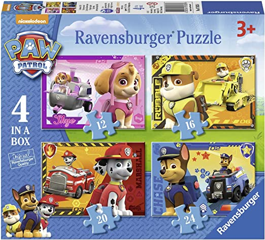 Ravensburger Paw Patrol - 4 in Box (12, 16, 20, 24 piece) Jigsaw Puzzles for Kids age 3 years and up: Amazon.co.uk: Toys & Games