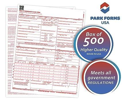 amazon com park forms hcfa cms 1500 claim forms version 02 12