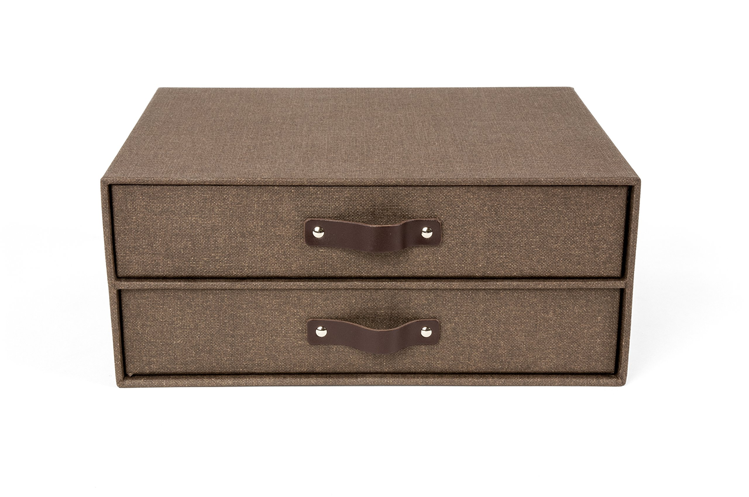Bigso 2-Drawer Birger Canvas Paper Laminate Easy Pull Handle File Storage Box, Dark Brown