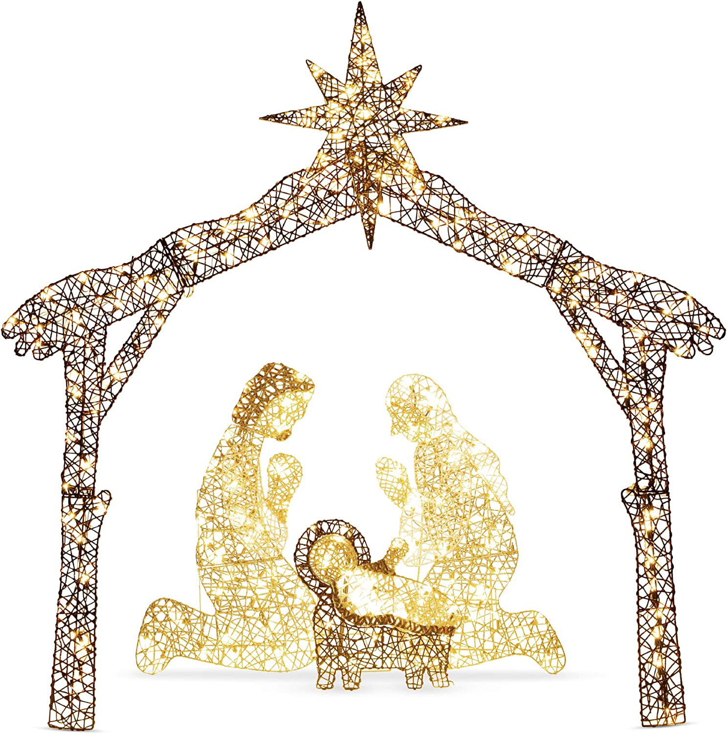 Best Choice Products 6ft Lighted Christmas Holy Family Nativity Scene Outdoor Yard Decoration with 190 LED Lights, Stakes, Zip Ties
