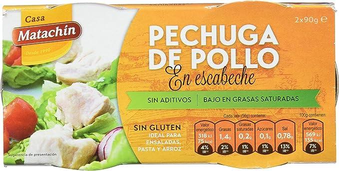 Casa Matachín Conserva Cárnica de Pechuga de Pollo en Escabeche - Paquete de 16 x 180 gr - Total: 2880 gr