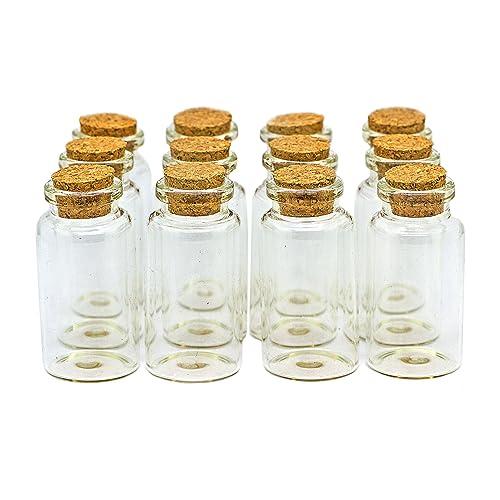 RUBY - 50 Botellas de Deseo 30mm x 60mm. Mini Botellas de Cristal con Tapones