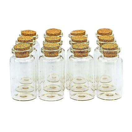RUBY - 100 Botellas de Deseo 30mm x 60mm. Mini Botellas de Cristal con Tapones de Corcho/Mensaje/Deseo de Fiesta de Bodas. (100 unids)