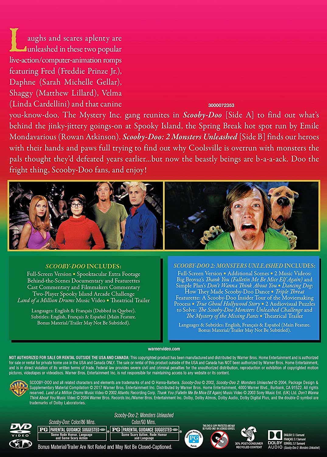 Scooby Doo The Movie Scooby Doo 2 Monsters Unleashed Dbfe Amazon Ca Various Various Dvd